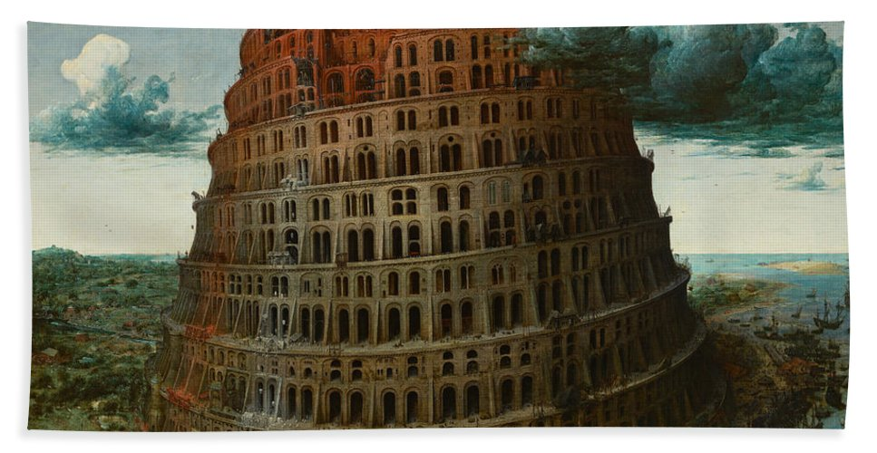 Pieter Bruegel The Elder Hand Towel featuring the painting The Tower Of Babel by Pieter Bruegel the Elder