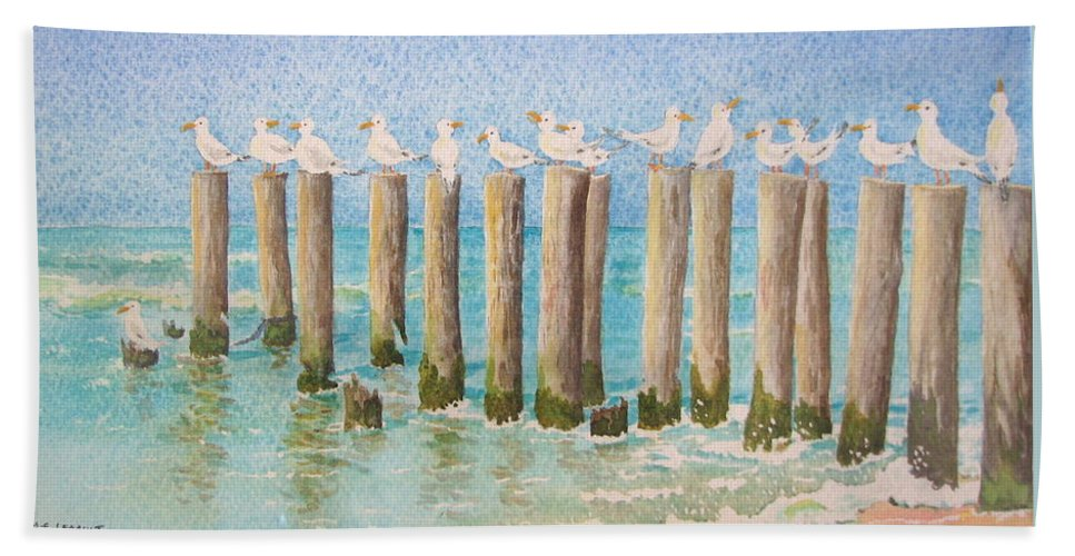 Seagulls Bath Towel featuring the painting The Town Meeting by Mary Ellen Mueller Legault