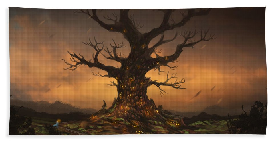 Tree Bath Sheet featuring the digital art The Tree by Cassiopeia Art