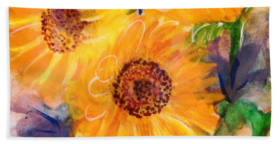 Sunflowers Bath Sheet featuring the painting The Trio by Margaret Bobb