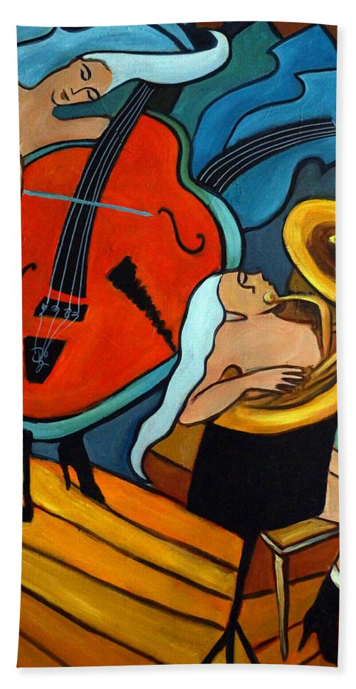 Musician Abstract Hand Towel featuring the painting The Tuba Player by Valerie Vescovi