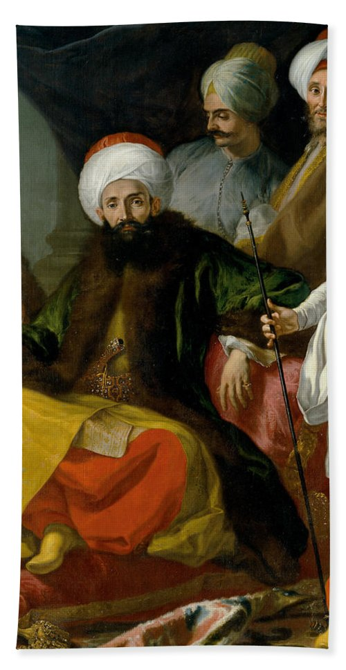 Giuseppe Bonito Bath Sheet featuring the painting The Turkish Ambassador And His Entourage At The Court Of Naples by Giuseppe Bonito