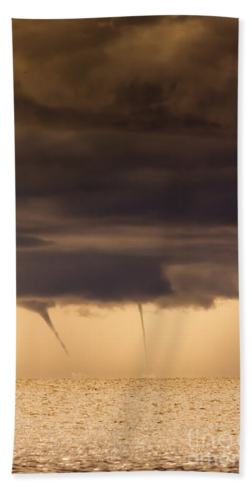Waterspout Hand Towel featuring the photograph The Twin Spin by Marvin Spates