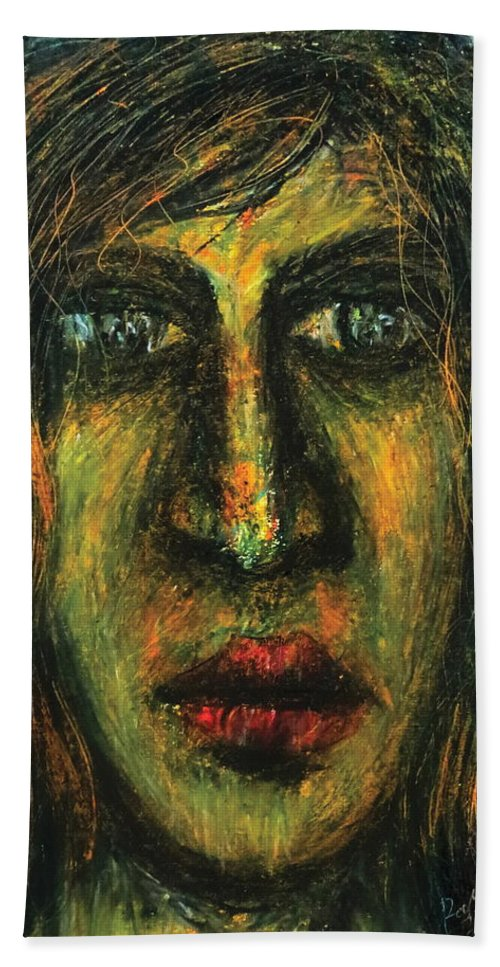 Portrait Bath Sheet featuring the pastel The Unseen - 7 by Rabi Khan