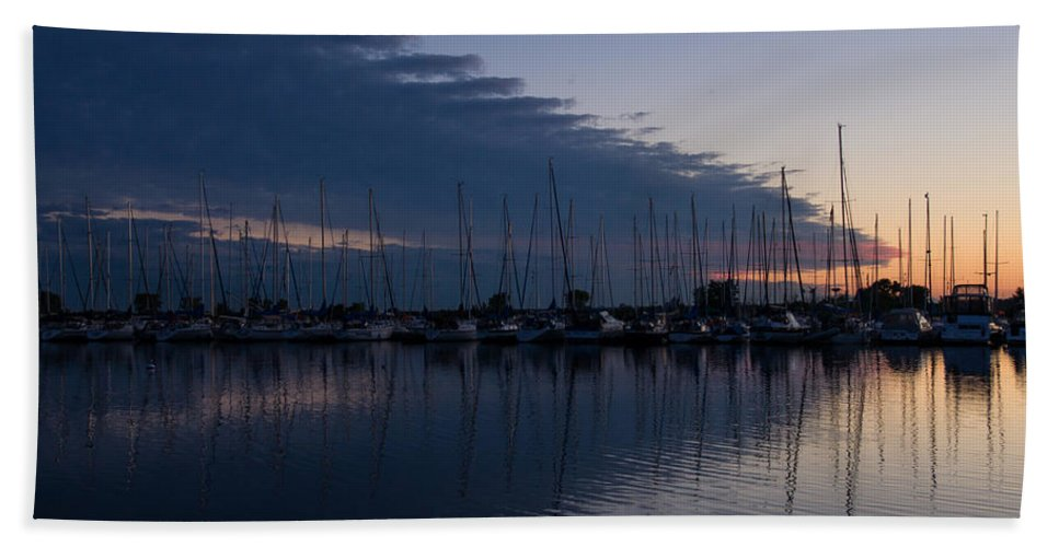 Urge To Sail Away Bath Sheet featuring the photograph The Urge To Sail Away - Violet Sky Reflecting In Lake Ontario In Toronto Canada by Georgia Mizuleva