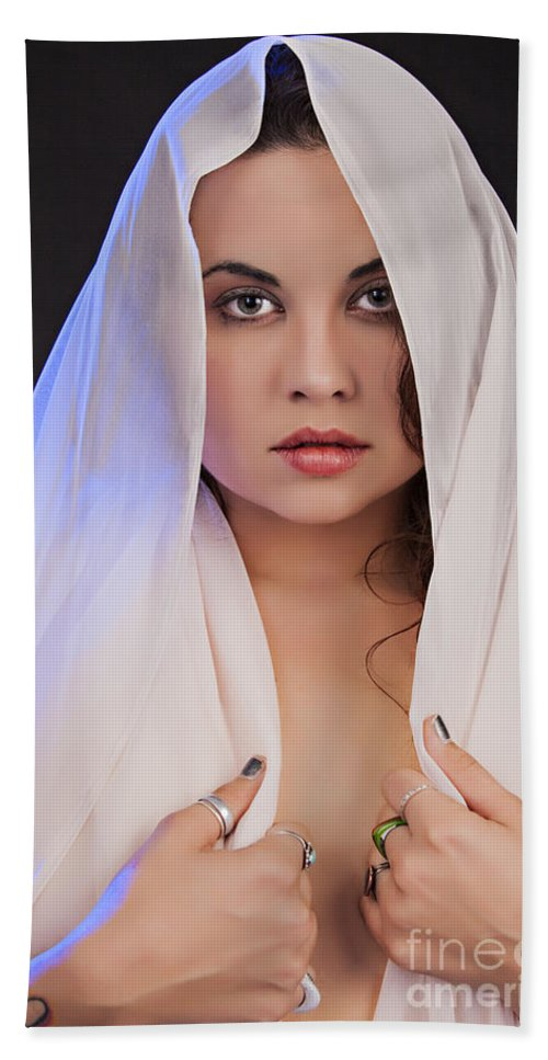 Nude Hand Towel featuring the photograph The Veil 1057.02 by Kendree Miller