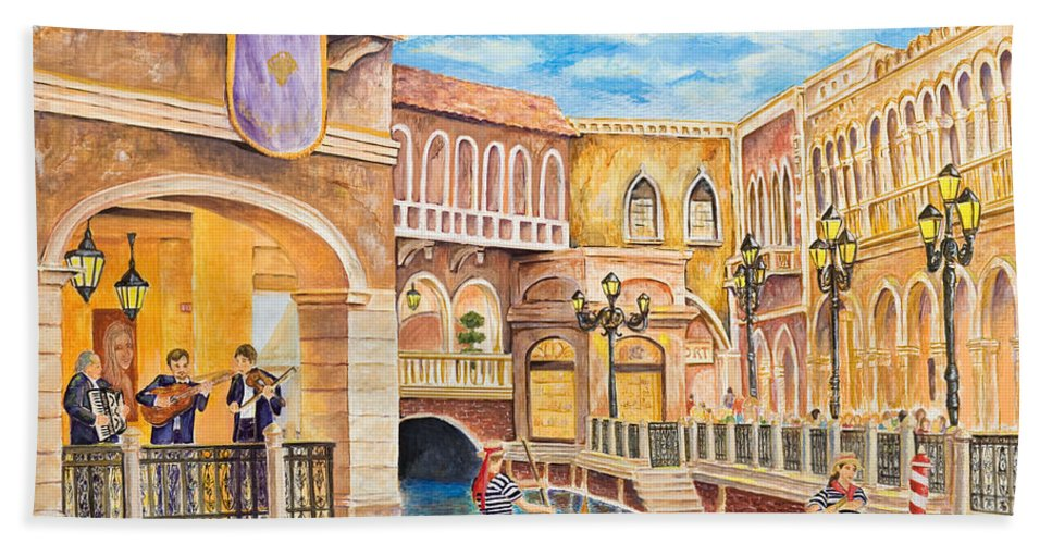 Las Vegas Hand Towel featuring the painting The Venetian Canal by Vicki Housel