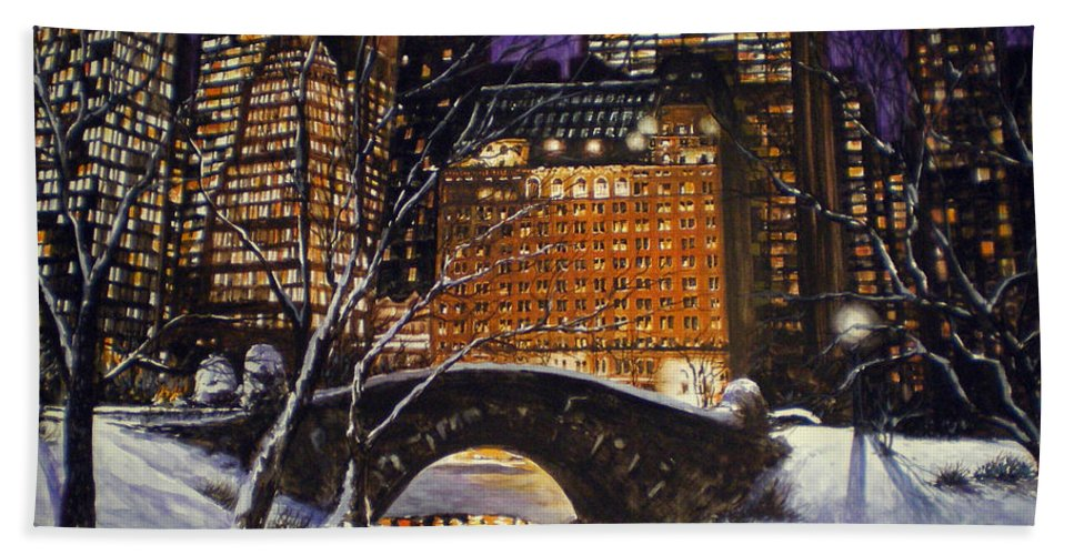 Gapstow Bath Sheet featuring the painting The View From The Bridge by Bryan Ahn