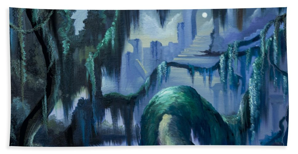 Fantasy Hand Towel featuring the painting The Vine and the Alter by James Christopher Hill