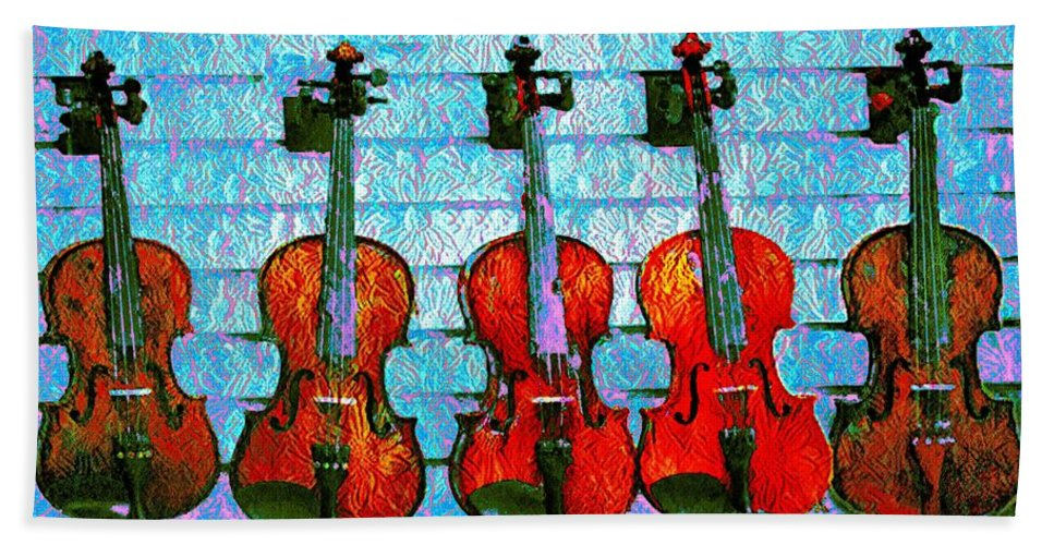 The Hand Towel featuring the photograph The Violin Store by Bill Cannon