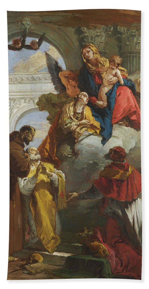Giovanni Battista Tiepolo Bath Sheet featuring the painting The Virgin And Child Appearing To A Group Of Saints by Giovanni Battista Tiepolo