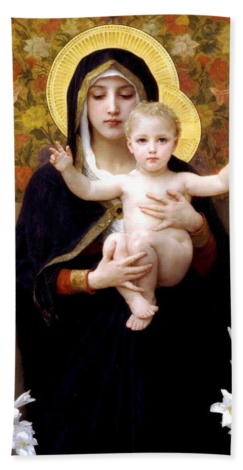The Virgin Of The Lilies Hand Towel featuring the digital art The Virgin Of The Lilies by William Bouguereau