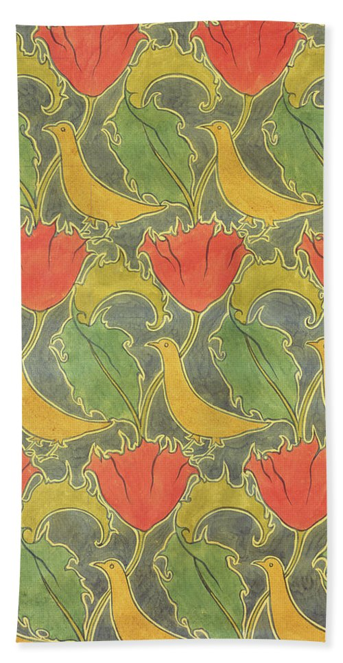Voysey Hand Towel featuring the drawing The Voysey Birds by Voysey