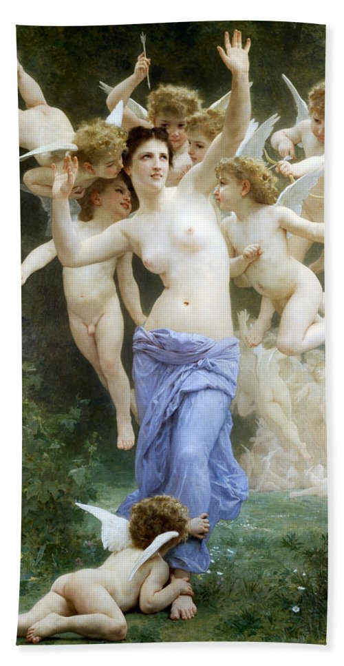The Wasp's Nest Hand Towel featuring the digital art The Wasp's Nest by William Bouguereau