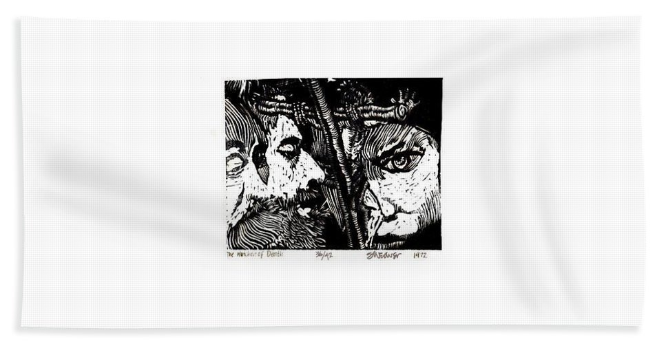 Spectators At The Crucifiction Of Jesus Christ Hand Towel featuring the relief The Watchers Of Death by Seth Weaver