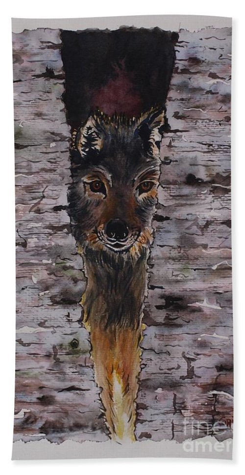 Wolf Bath Sheet featuring the painting The Watchful Wolf by Corina Hogan