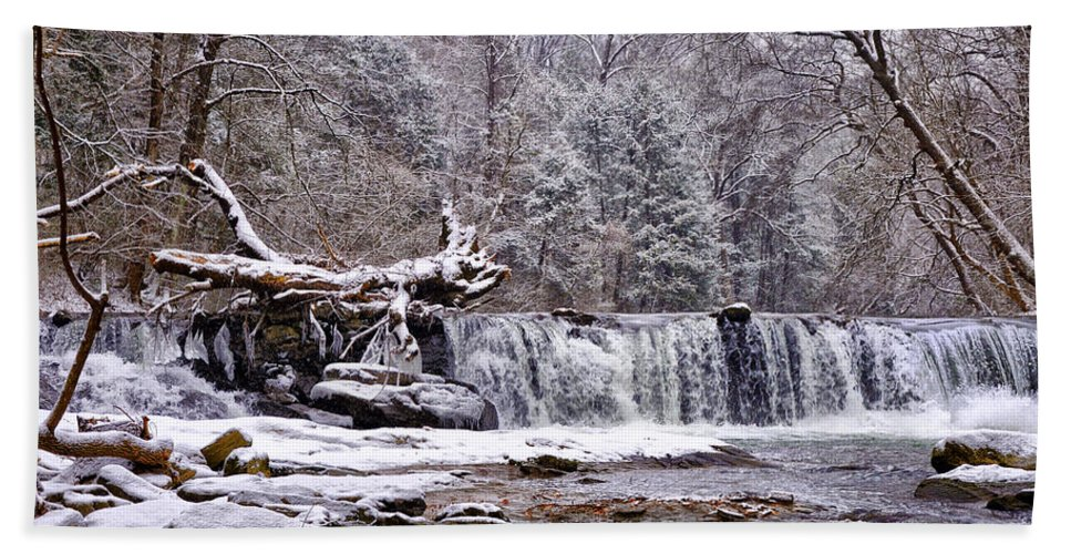 Waterfall Hand Towel featuring the photograph The Waterfall Near Valley Green In The Snow by Bill Cannon