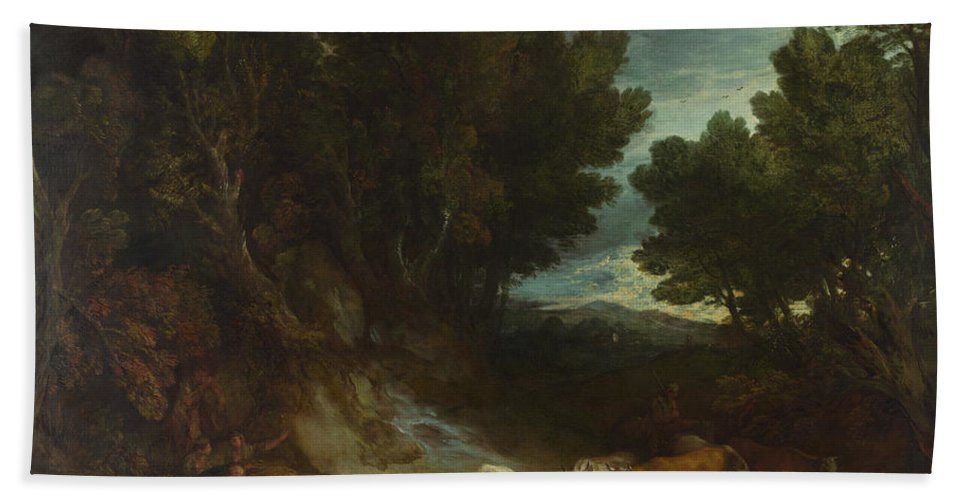Thomas Gainsborough Hand Towel featuring the painting The Watering Place by Thomas Gainsborough