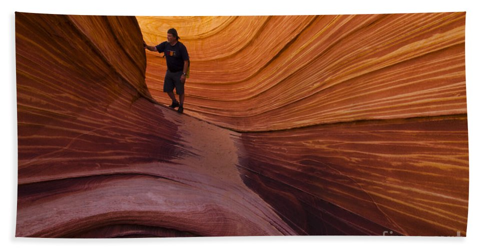 The Wave Hand Towel featuring the photograph The Wave Beauty Of Sandstone 1 by Bob Christopher