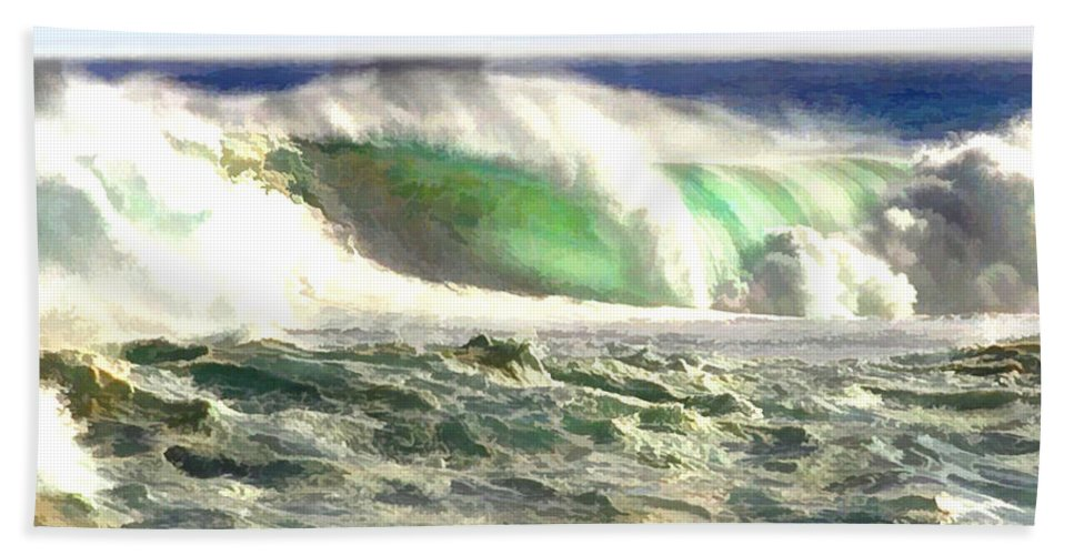 Ocean Bath Sheet featuring the painting The Wave by Elaine Plesser