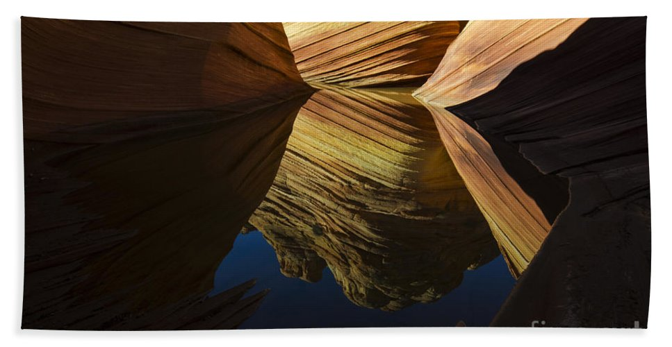 The Wave Hand Towel featuring the photograph The Wave Reflected Beauty 3 by Bob Christopher