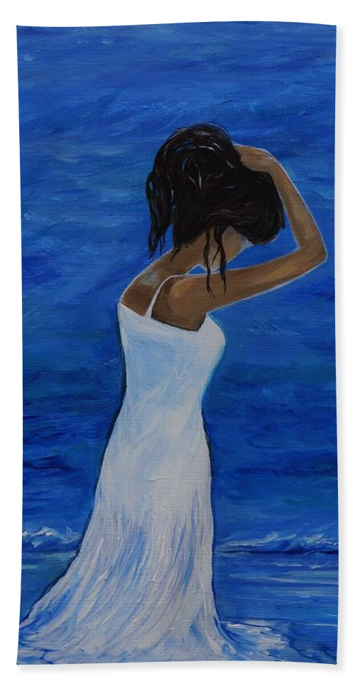 Woman Painting Hand Towel featuring the painting The Waves Of Beauty by Leslie Allen