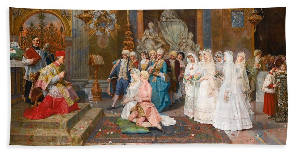 Giulio Rosati Bath Sheet featuring the painting The Wedding by Giulio Rosati
