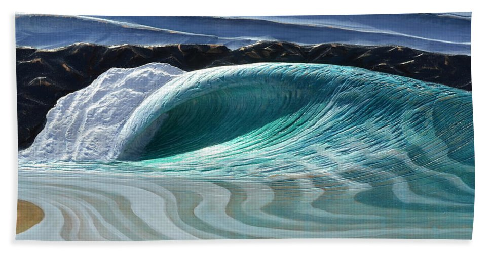 Wave Bath Sheet featuring the painting The Wedge by Nathan Ledyard