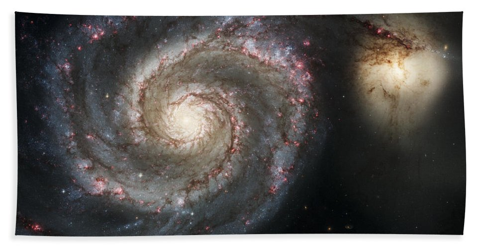 3scape Bath Towel featuring the photograph The Whirlpool Galaxy M51 and Companion by Adam Romanowicz