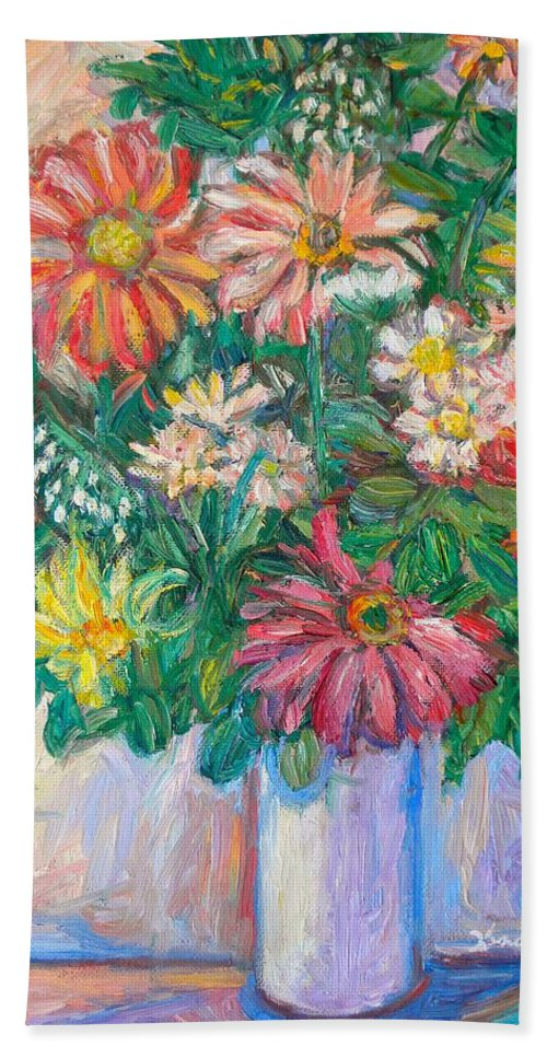 Still Life Bath Sheet featuring the painting The White Vase by Kendall Kessler