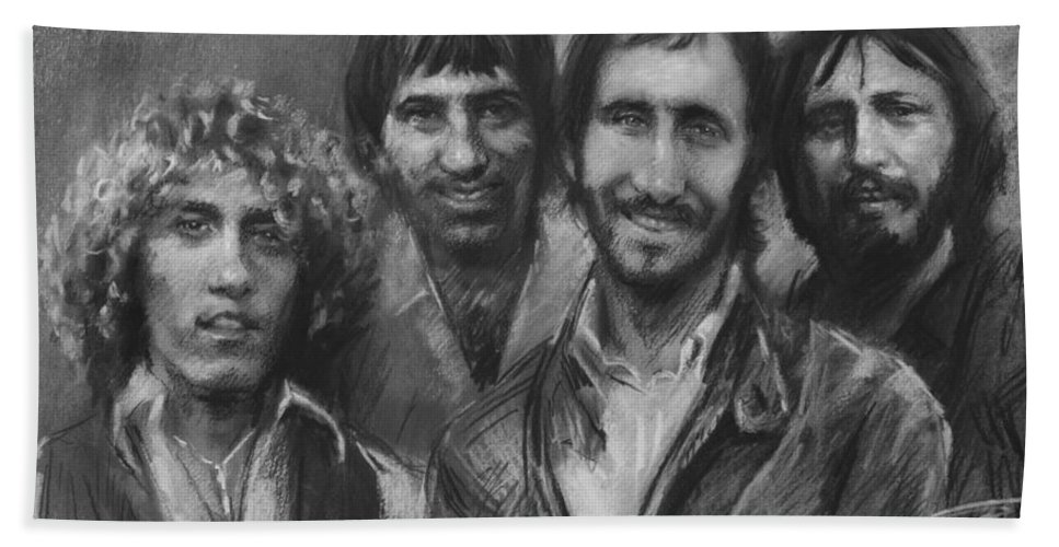 The Who Hand Towel featuring the drawing The Who by Viola El