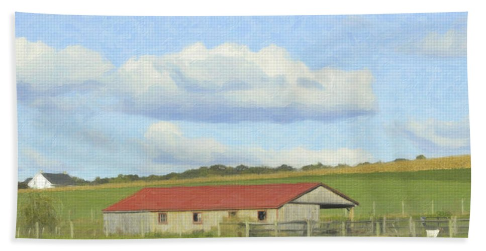 Cloud Bath Sheet featuring the mixed media The Whole Farm To Himself by Trish Tritz