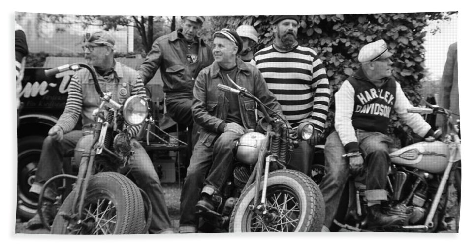1940's / 50's Harley Davidson Motorcycles Bath Sheet featuring the photograph The Wild Ones by Robert Phelan