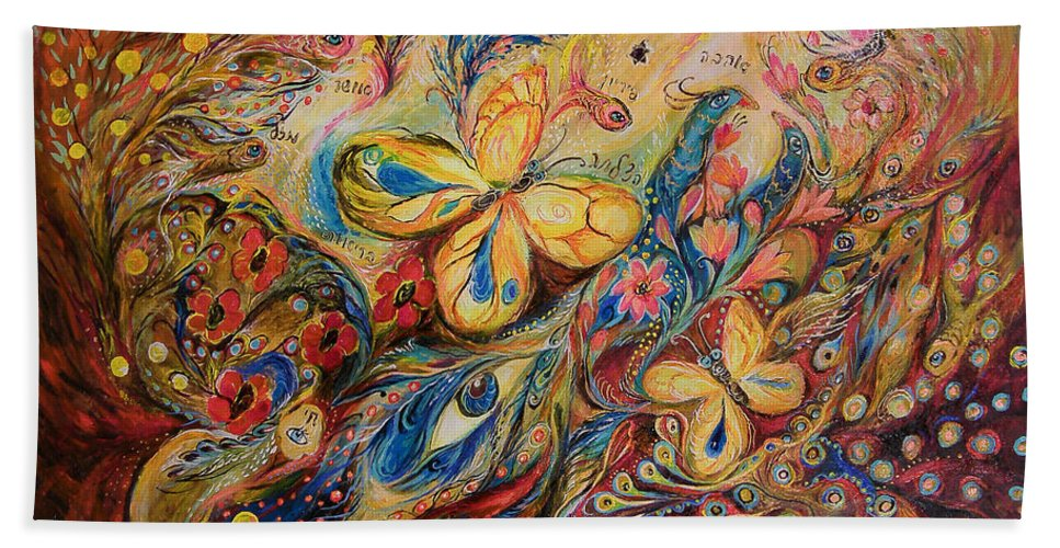 Original Hand Towel featuring the painting The Wind by Elena Kotliarker