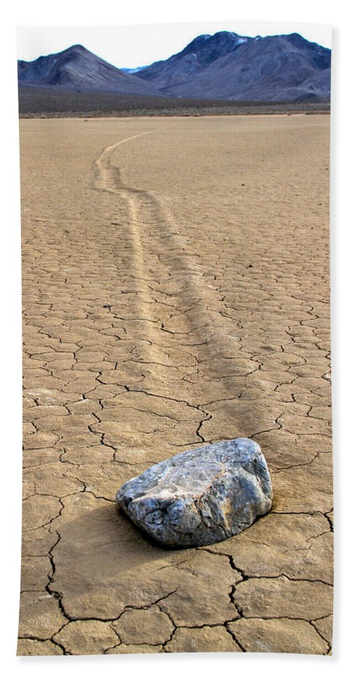 California Bath Sheet featuring the photograph The Winner Death Valley Moving Rock by Ed Riche
