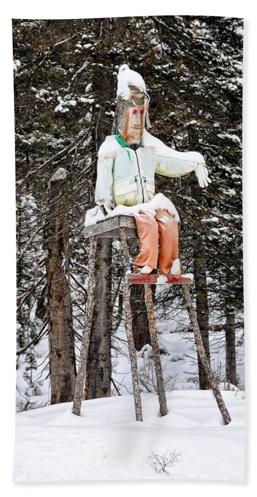 Island Park Hand Towel featuring the photograph The Winter Greeter by Image Takers Photography LLC - Laura Morgan
