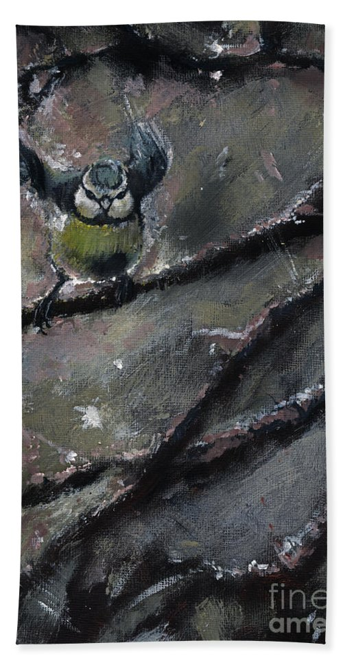 Tit Hand Towel featuring the painting The Winter Tales by Angel Ciesniarska