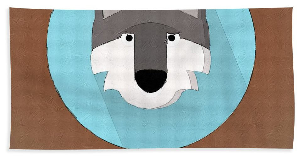 Wolf Hand Towel featuring the painting The Wolf Cute Portrait by Florian Rodarte