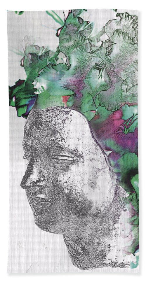 Abstract Woman Hand Towel featuring the digital art The Woman From Yes by Nola Lee Kelsey