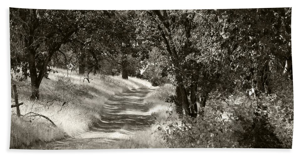 Country Bath Sheet featuring the photograph The Wooded Path by Kathleen Grace