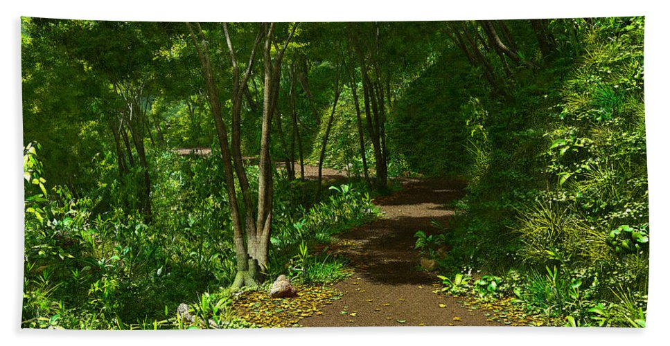 Landscape Hand Towel featuring the digital art The Wooded Path... by Tim Fillingim