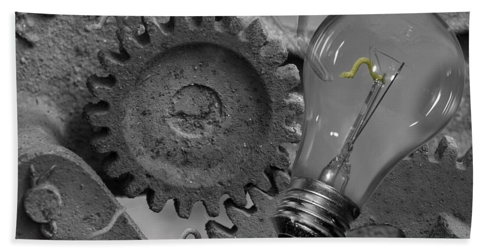 Gears Bath Sheet featuring the digital art The Working Man by Betsy Knapp