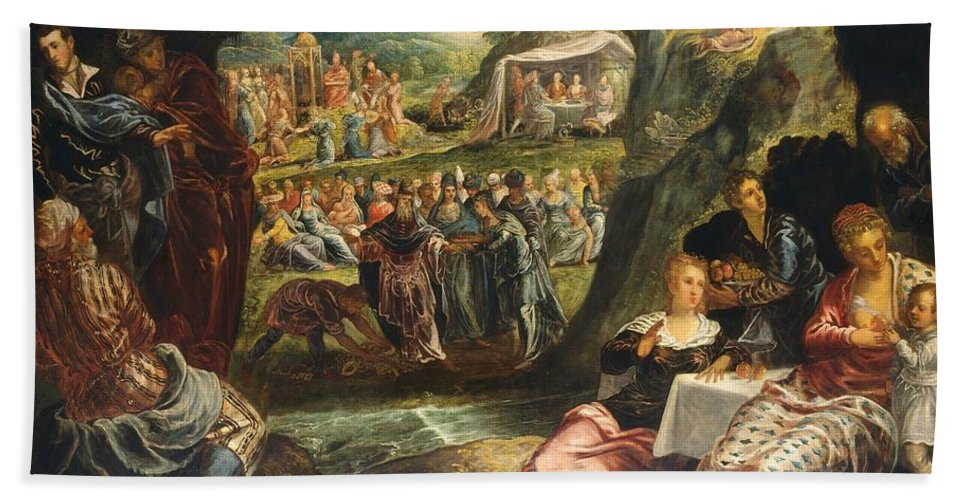1560 Hand Towel featuring the painting The Worship Of The Golden Calf by Tintoretto