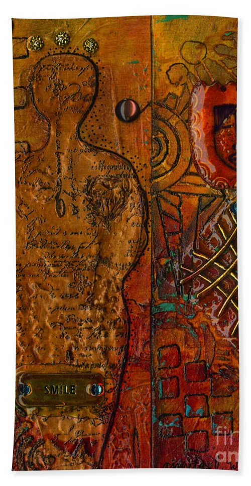Abstract Mixed Media Hand Towel featuring the mixed media The Writer by Angela L Walker