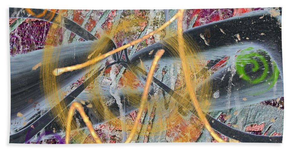 Abstract Hand Towel featuring the digital art The Writing On The Wall 12 by Tim Allen