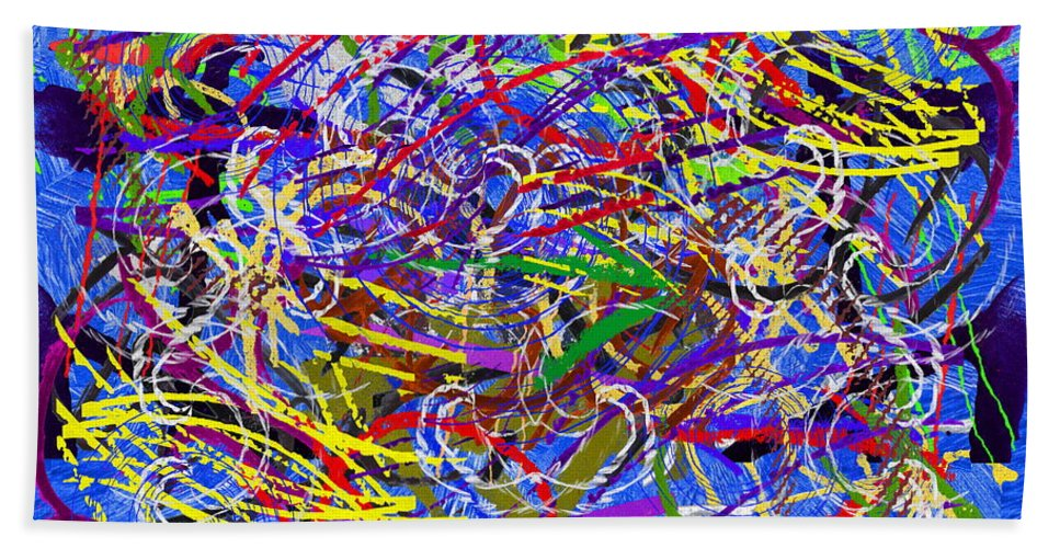 Abstract Bath Towel featuring the digital art The Writing On The Wall 26 by Tim Allen