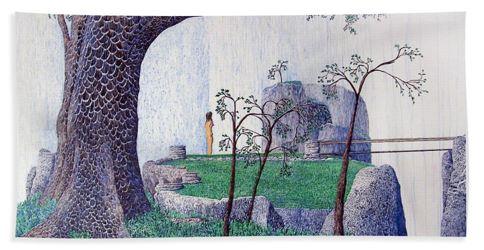 Landscape Bath Towel featuring the painting The Yearning Tree by A Robert Malcom