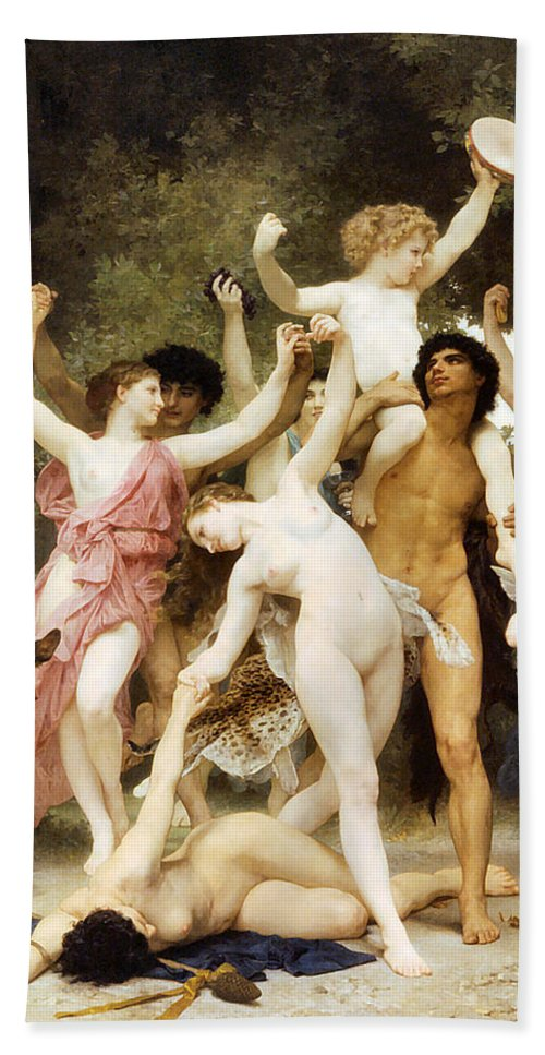 The Youth Of Bacchus Bath Sheet featuring the digital art The Youth Of Bacchus Detail by William Bouguereau