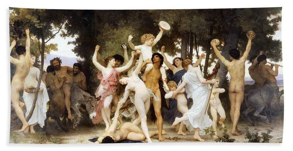 The Youth Of Bacchus Hand Towel featuring the digital art The Youth Of Bacchus by William Bouguereau