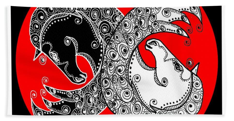 Yin Bath Sheet featuring the digital art The Zen Of Horses by Shannon Story